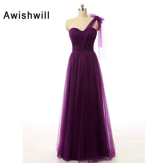 aff179a45e3 Custom Size Dark Purple Wedding Guest Dress One Shoulder Tulle Lace-up Back  Formal Party Dress Long Bridesmaid Dresses