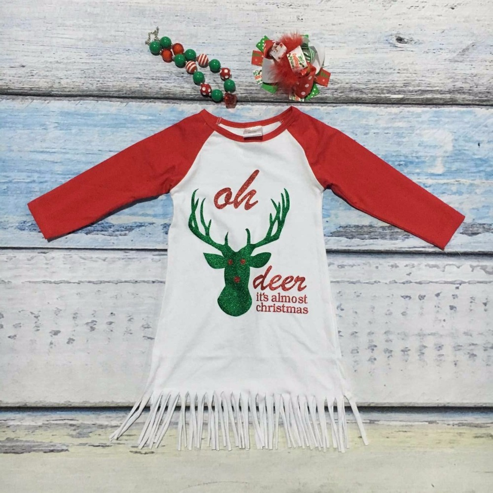 Fall baby girls new design Christmas cotton oh deer brown dresses ...