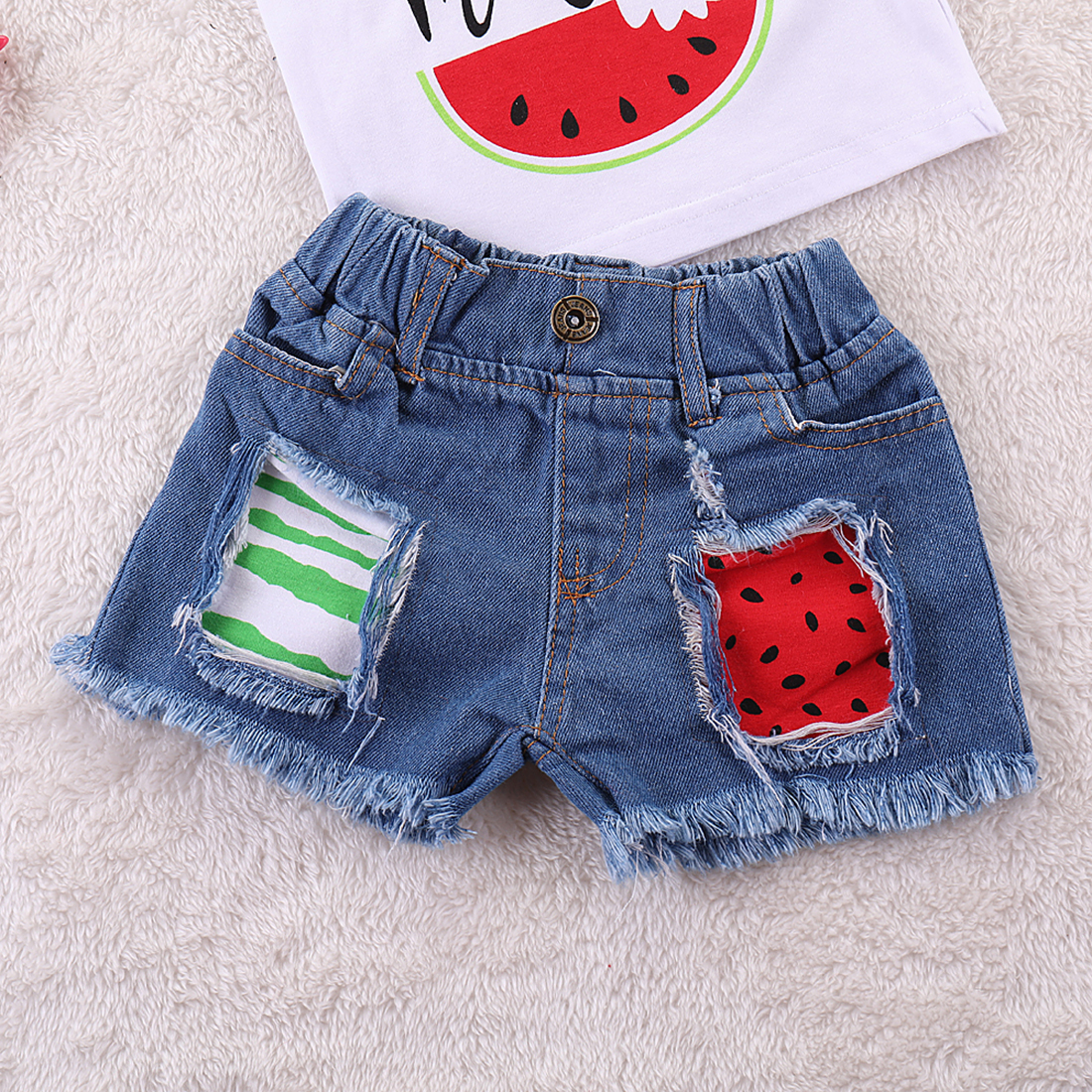 61989cef6 Fashion New Toddler Kids Baby Girl Sleeveless Watermelon Vest Tops+Ripped  Denim Shorts Jeans 2PCS Outfits Summer Clothes Set-in Clothing Sets from  Mother ...
