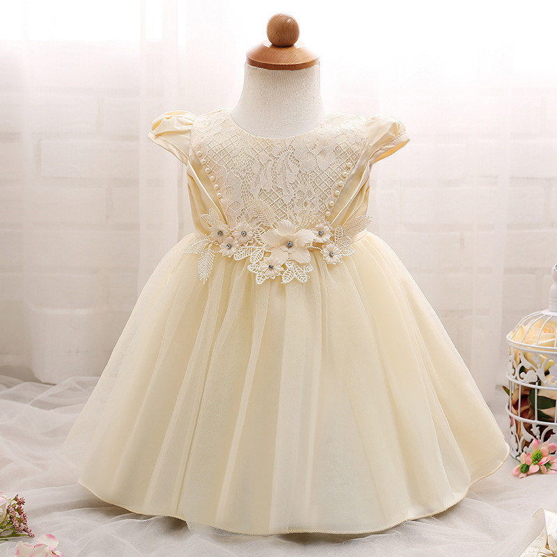 High Quality Baby Girl Sleeveless Baptism Dress for Girl Infant Birthday Party Princess Dress Infant Girl Veil Bow Beaded Dress