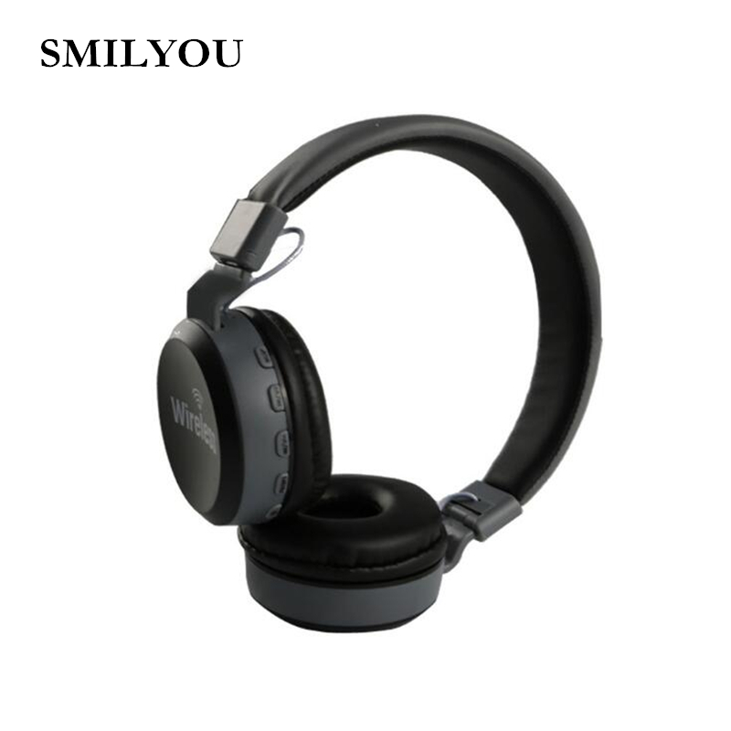 SMILYOU bluetooth 4.2 stereo headphones wireless bluetooth headset FM TF MP3 headphone with microphone for phone iPhone Samsung ks 509 mp3 player stereo headset headphones w tf card slot fm black