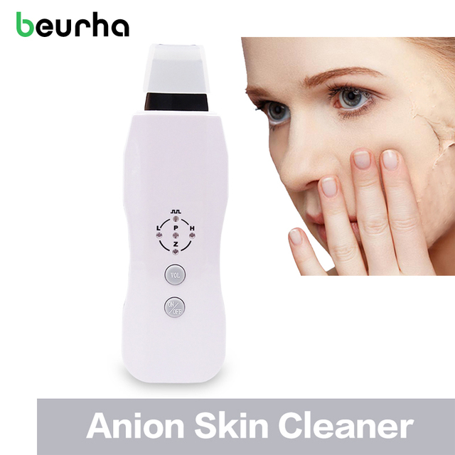 Beurha Anion Skin Cleaner Ultrasound Facial Skin Scrubber Portable Vibration Massage Relaxation Face Skin Peeling Skin Care Tool