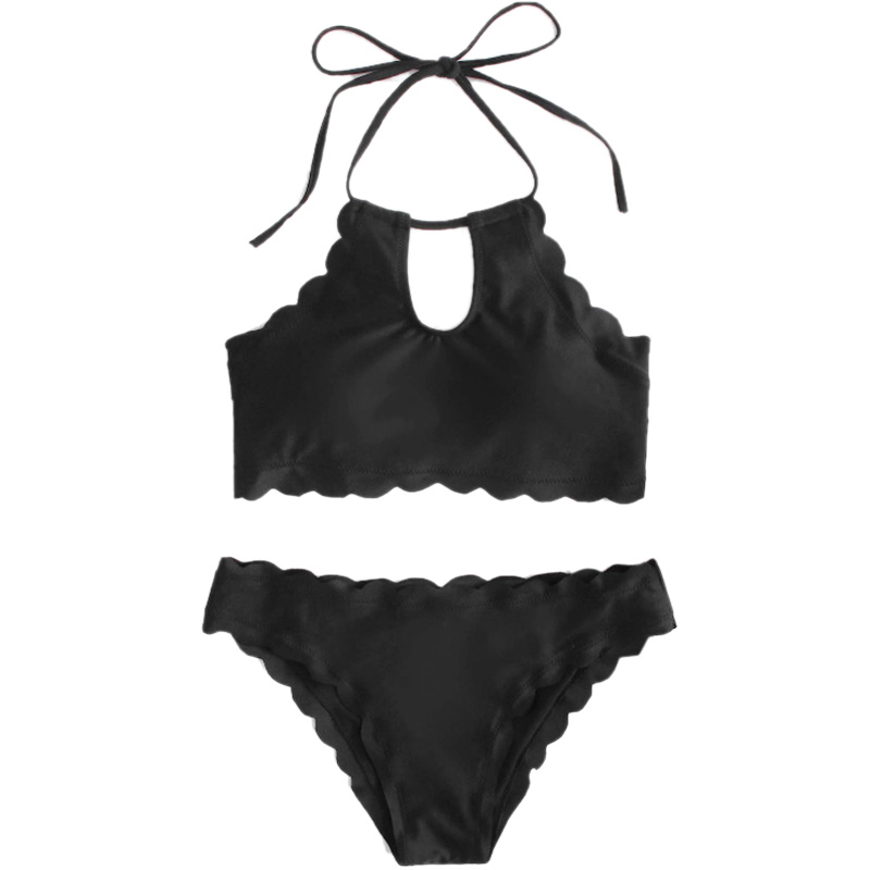Solid Color Bikini Set Women Solid Two Pieces Swimwear Lace Girl Beach Swimsuits
