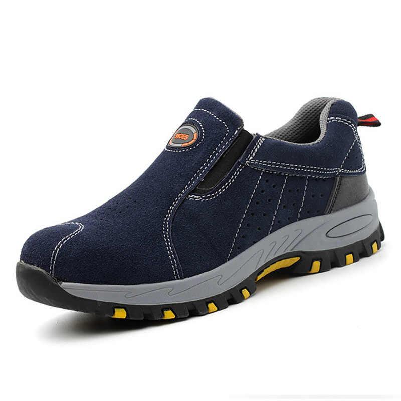 男性の鋼つま先の作業安全靴軽量通気性の抗スマッシング作業靴男性ブーツカジュアルスニーカー男性靴 46