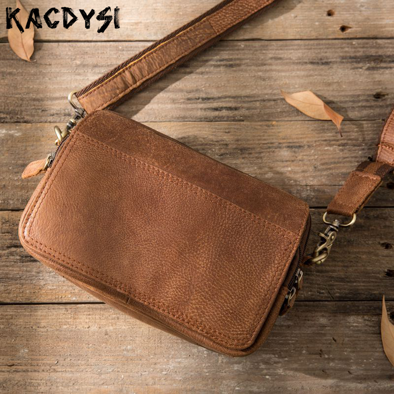 100 Genuine Cow Leather Original Vintage Men Small Crossbody Bag High Quality Tote Messenger Satchel Purse