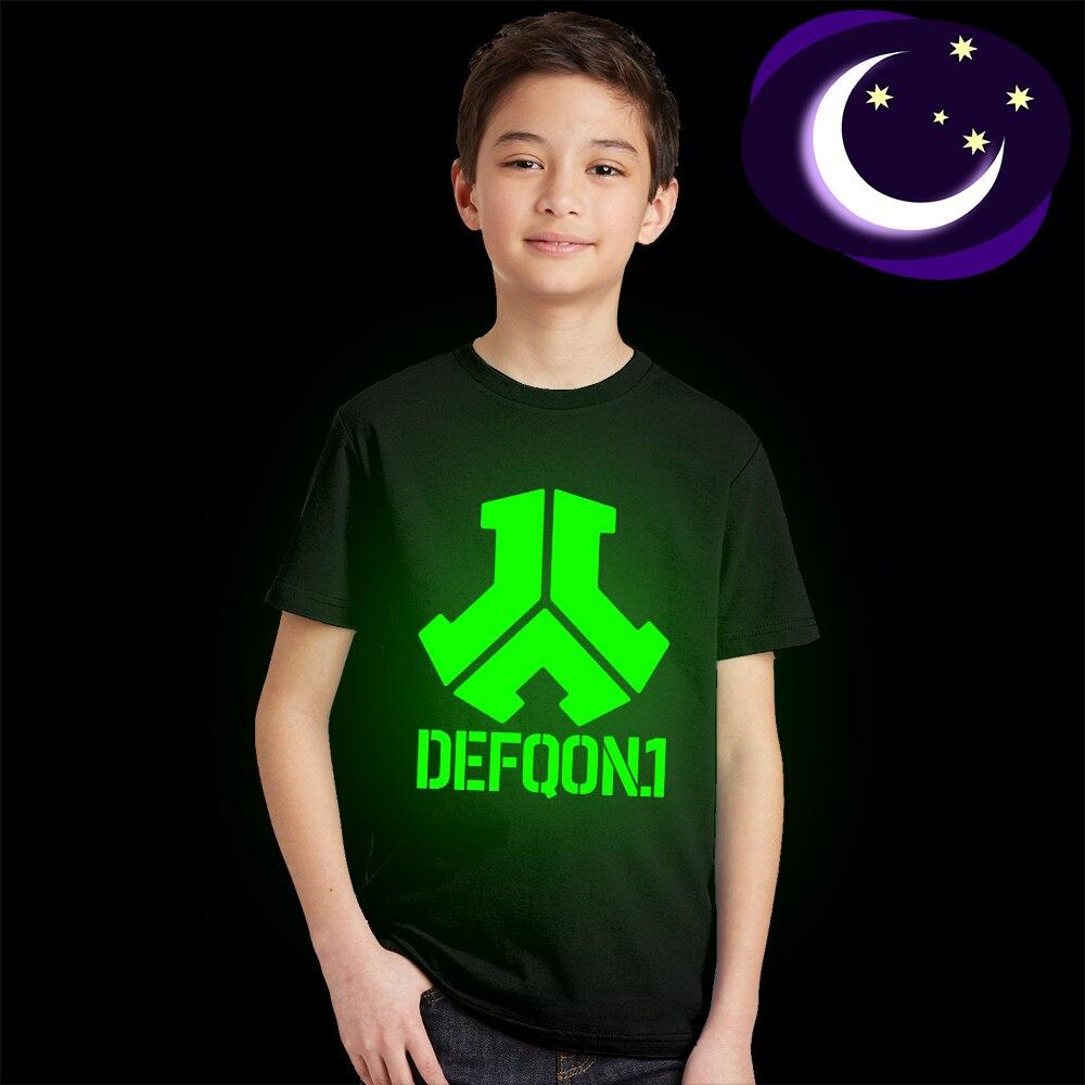 Luminous Defqon 1 Children T Shirt Fluorescent Music Dj Kids T-shirt Glow In Dark Teens Boys Girls Tshirt Fashion Summer Clothes