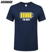 2019 Summer New Battery Power I Am 100% Funny T Shirt Men Print Tees Short Sleeve O-Neck Casual Cotton Hip Hop Men's T Shirt Top цена