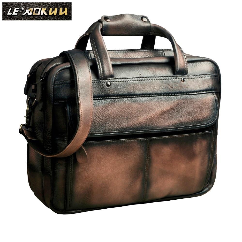 Men Oil Waxy Leather Antique Design Business Briefcase Laptop Document Case Fashion Attache Messenger Bag Tote