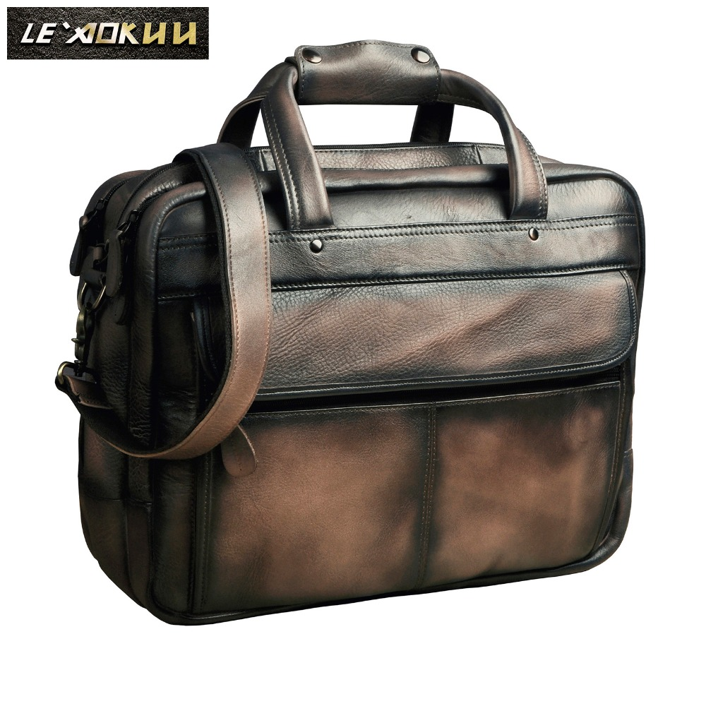 Men Oil Waxy Leather Antique Design Business Briefcase Laptop Document Case Fashion Attache Messenger Bag Tote Portfolio 7146-db