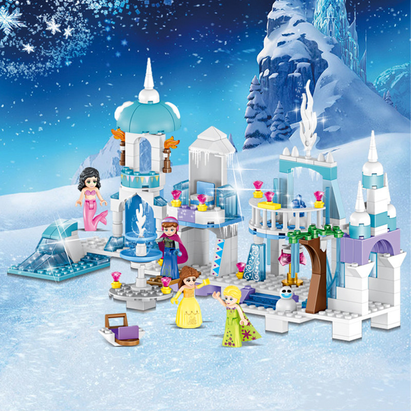 4 in 1 Legoings Princess Mermaid Elsa Anna Ice Castle Model Building Blocks Kit Toys Girl Kids Birthday Christmas Gifts