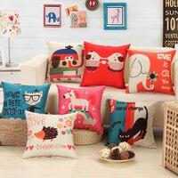 Linen Cotton Square 45 45cm Cartoon Print Cushion Home Decor Sofa Seat Chair Back Waist Cusion