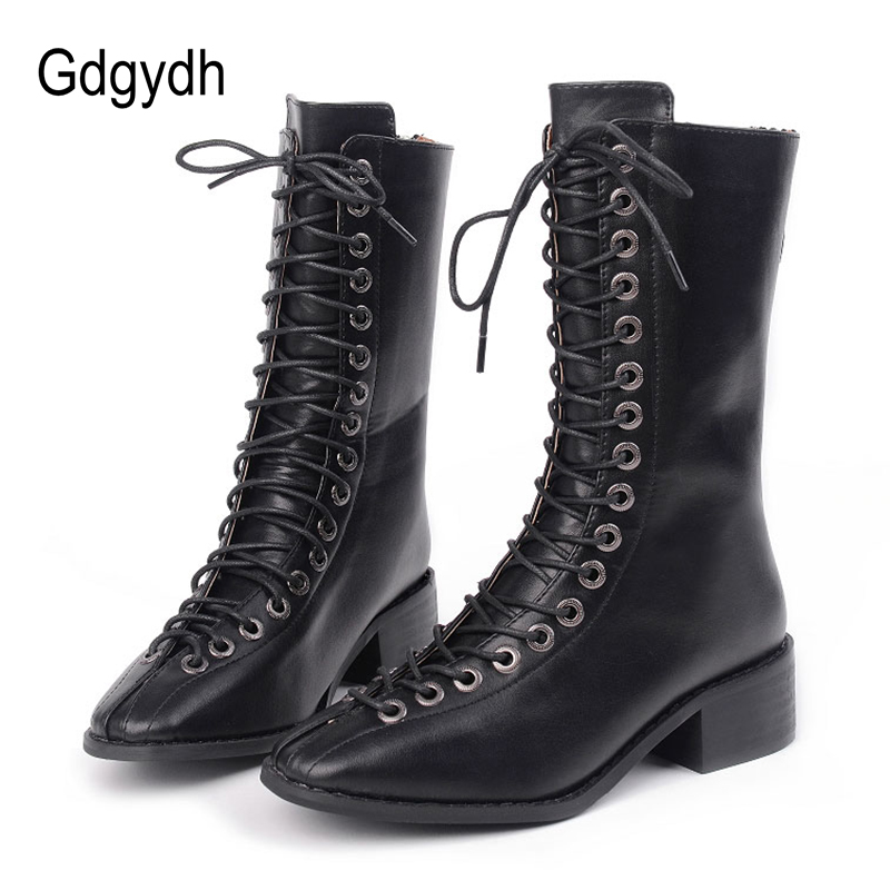 Gdgydh Square Toe Women Motorcycle Boots Mid-calf 2017 New Autumn Cross-tied Thick Heels Ladies Boots Fashion Shoes High Quality riding boots chunky heels platform faux pu leather round toe mid calf boots fashion cross straps 2017 new hot woman shoes