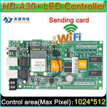 Full Color Cartão de Controlador Assíncrono, HD-A30 + WiFi display grande cartão de envio, DIY LEVOU controlador de tela