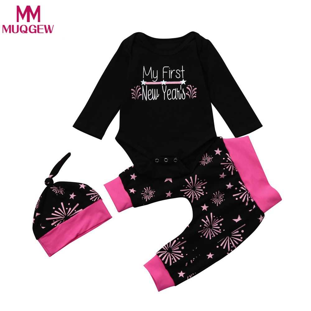 0296684a4e3e Detail Feedback Questions about My First New Years Print Baby Boy Girl Top  Romper Clothes Sets 2018 Fashion Party Clothing Wear Long Pant Hat+Headband  on ...