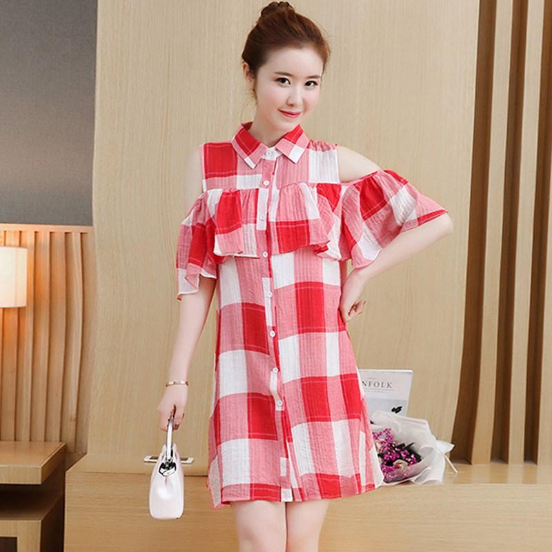 Fashion Plaid Shirt Dress Mujer Ruffles Dress Plus Size Cold ...
