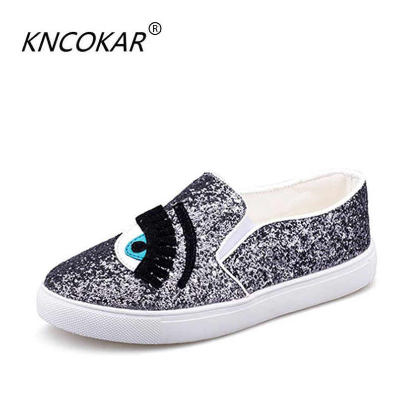 Spring fashion flat-bottomed single shoes big eyes eyelash women s  paillette shoes casual shoes lazy b7d5ad35121f