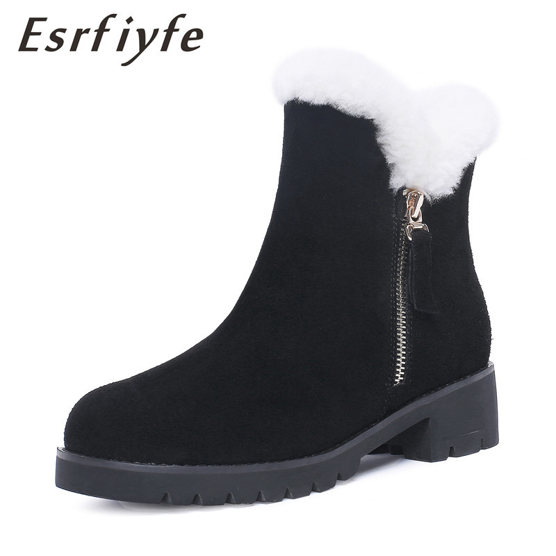 ESRFIYFE New Classic Waterproof Genuine Cowhide Leather Snow Boots Wool Women Boots Warm Winter Shoes for Women Zip Ankle Boots