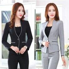 2018 female jacket long sleeve coat suit black suit women's casual suit jacket + pants solid color large size jacket suit