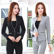 LOWLU2017 female jacket long sleeve suit black womens casual + pants solid color large size
