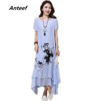 Fashion Summer Style Cotton Linen Plus Size Vintage Print Women Casual Loose Long Dress Vestidos