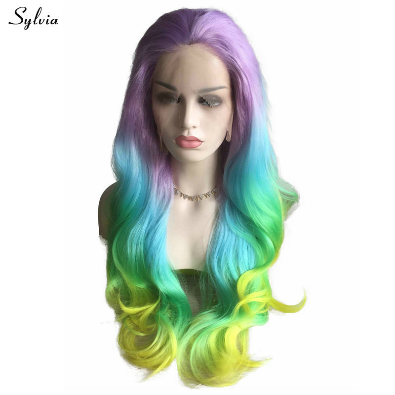 Sylvia Long Colorful Wigs Pastel Purple Blue Green Yellow
