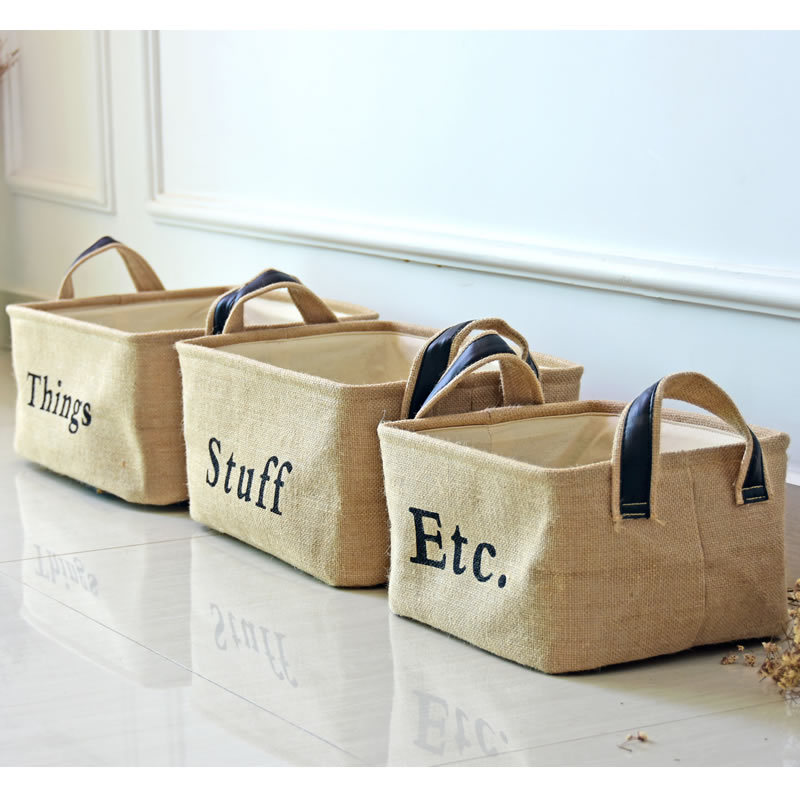 Originality Things Stuff Etc Jute Office Home Sundries Card Storage Pencil Holder Wire Basket Organizer Project Box