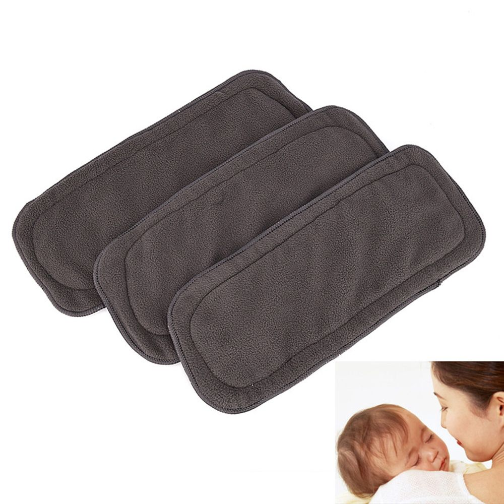 Reusable 5 Layers Bamboo Charcoal Cloth Baby Diaper Nappy Washable Soft Inserts Absorbent Fast Dry Diaper For Sensitive Skin
