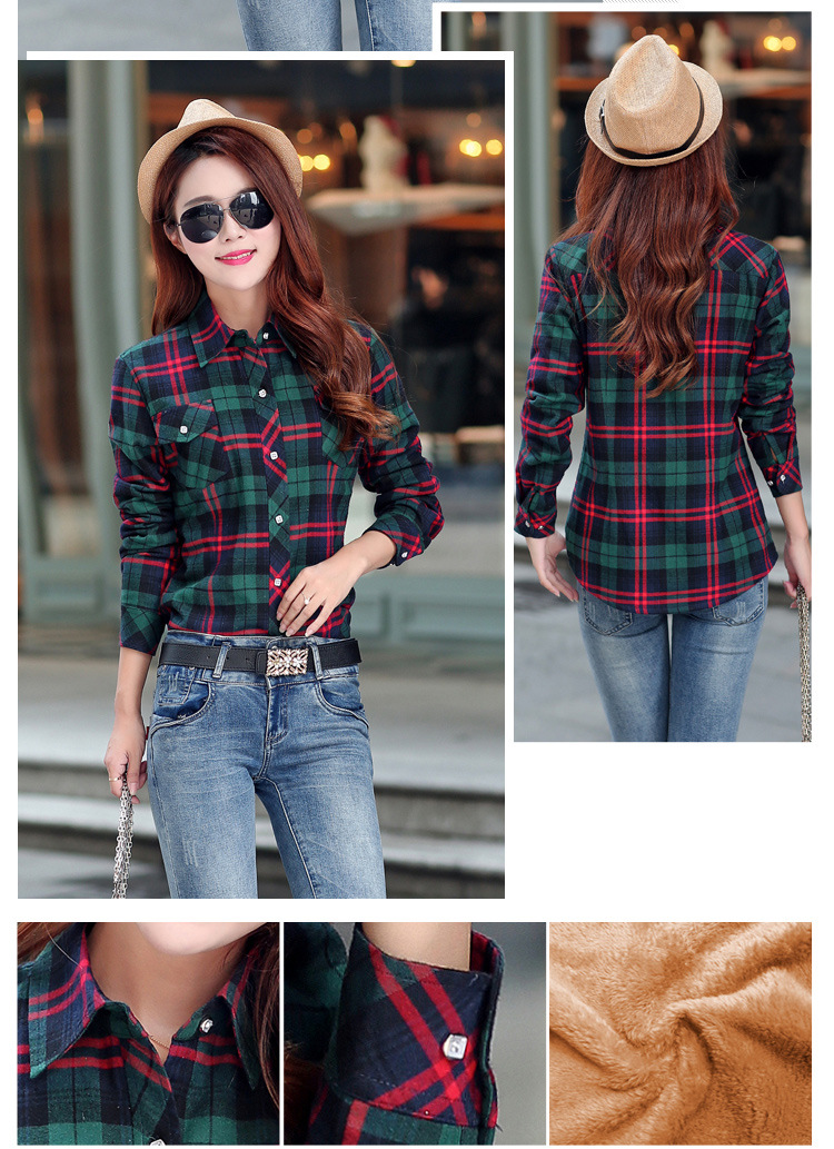 19 Brand New Winter Warm Women Velvet Thicker Jacket Plaid Shirt Style Coat Female College Style Casual Jacket Outerwear 21