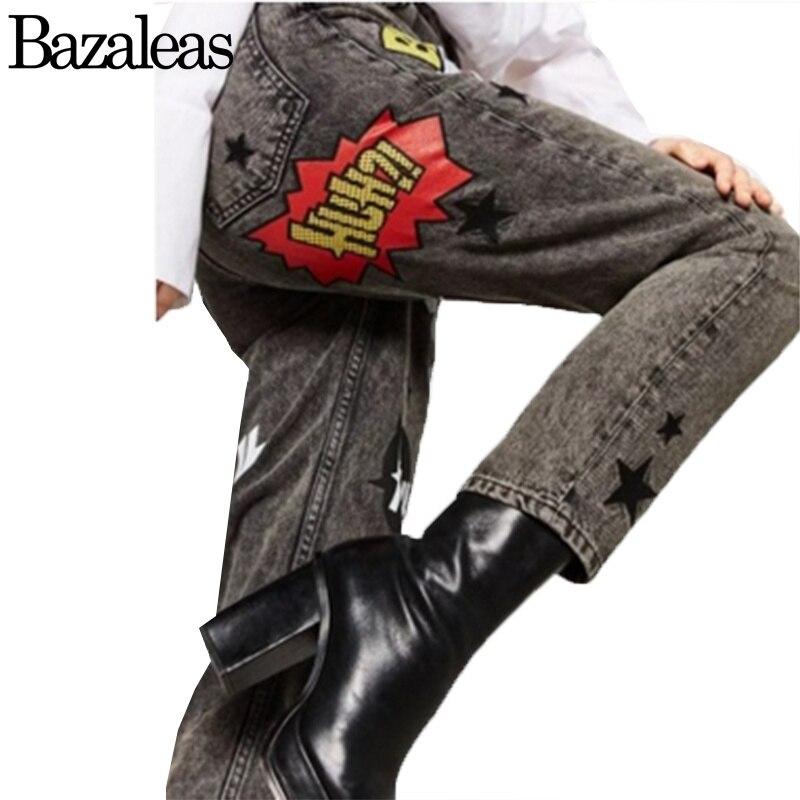 ФОТО Bazaleas 2017 Star Letter Embroidery Jeans Female Deep Gray Casual Pants Straight Jeans Restore Women Bottom