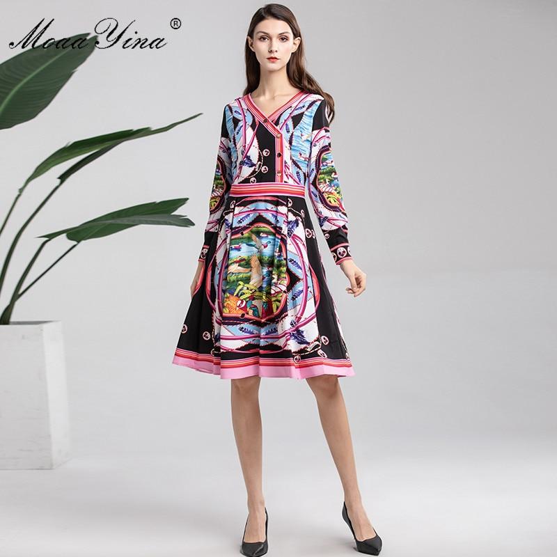 MoaaYina 2019 diseñador de moda vestido de pasarela primavera mujer de manga larga cuello en V botón rayas lago paisaje estampado Delgado elegante vestido-in Vestidos from Ropa de mujer    3
