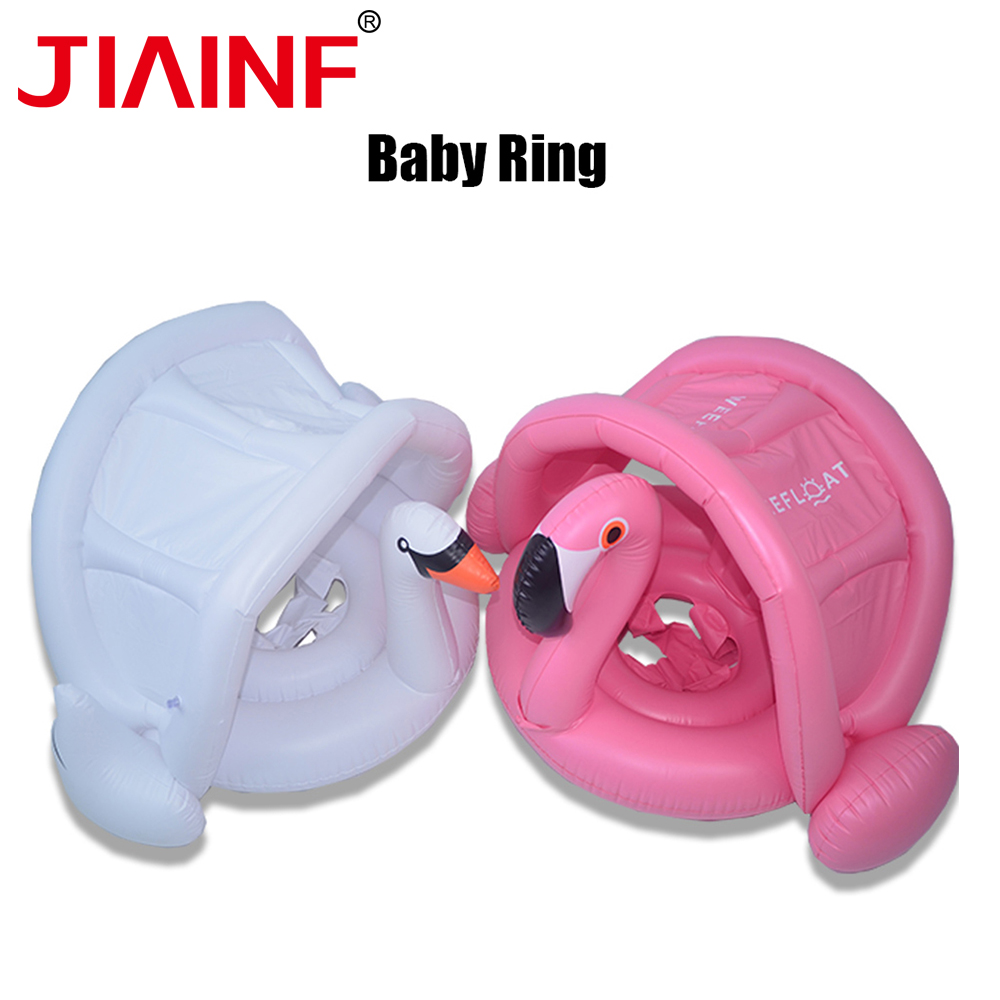 JIAINF Summer Baby Pool Float Swim Ring White Swan With Sunscreen Awning Kids Swan Inflatable Swim Ring Pink Flamingo Baby Float