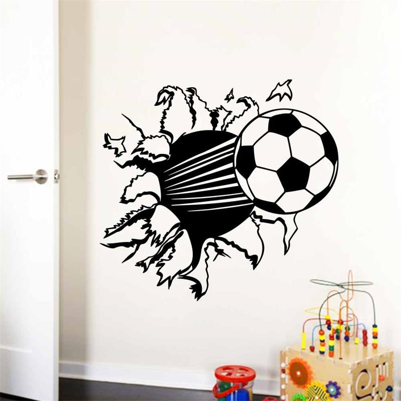 Football Fantasy Fire Ball 3D Hole in The Wall C Effect Wall Sticker Art Decal