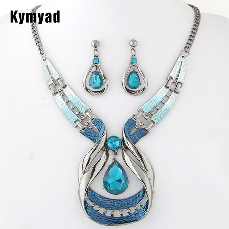 Kymyad Blue Stone Jewelry Sets For Women Fine African Beads Jewelry Set Vintage Statement Necklace Earrings Set For Women