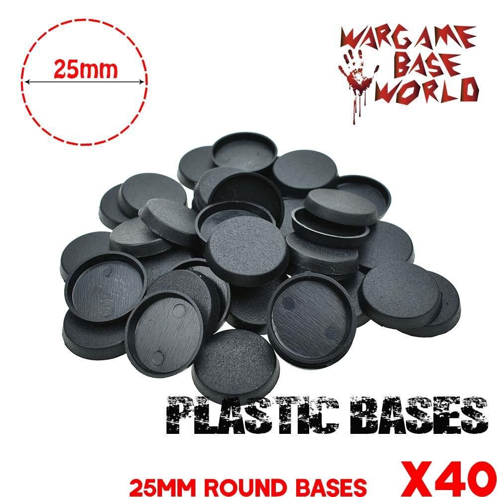 قواعد دائرية بلاستيكية لألعاب المنمنمات وغيرها من Wargames 40 قطعة 25 مللي متر