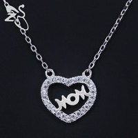 925 Sterling Silver Choker Crystal Heart Mom Letter Chain Necklaces Pendants Statement AAA Cubic Zirconia Women