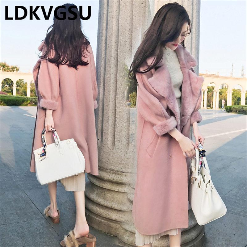 Loisirs De Hiver La Épaississent Femelle Parka 2018 Haute Qualité pink Long Manteaux Laine Taille Vestes Veste Femmes Apricot Manteau Is1411 Plus xqYx6An7