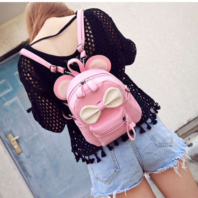 New PU Leather Girl Backpack School Bag For Teenager Small Rivet Top-handle Women Bag Mickey ears Feminina Herald Fashion drawstring pu leather backpack small school women bag top handle lock girl backpack new arrivals herald fashion mochila feminina