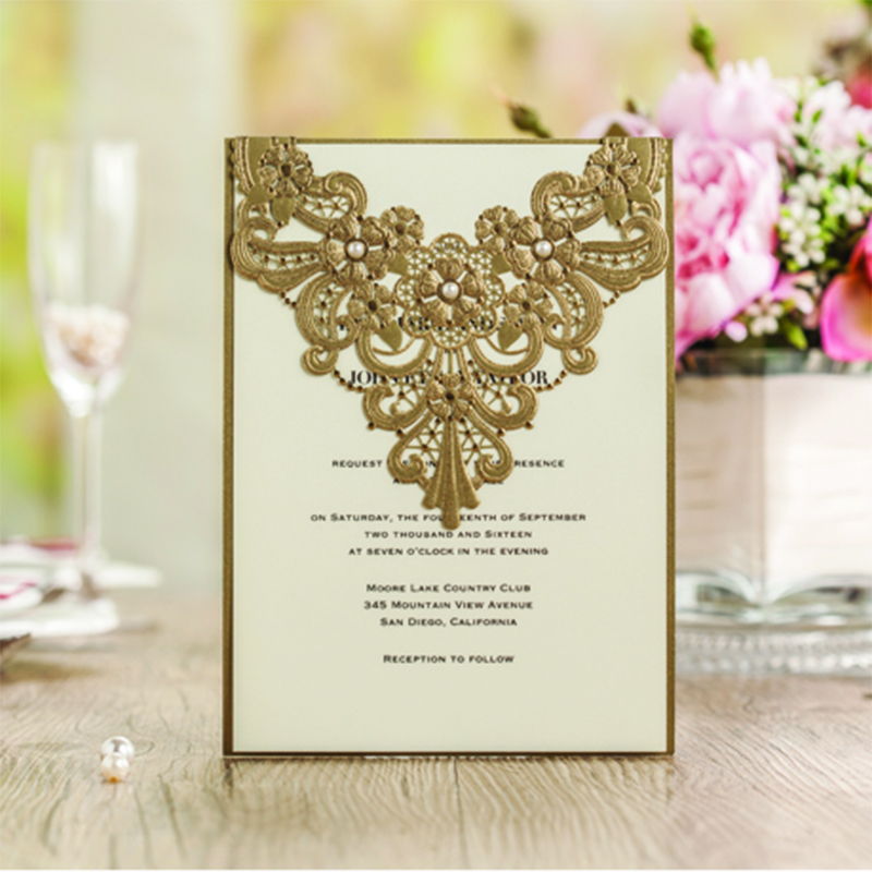 Fold Laser Cut Gold Pattern Wedding invitations Kit Blank Paper Lace Printing Invitation Cards Envelope Convite Casamento square design white laser cut invitations kit blanl paper printing wedding invitation card set send envelope casamento convite