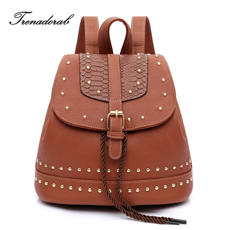 Trenadorab women backpack Female vintage soft leather serpentine rivet teenage school ba ...