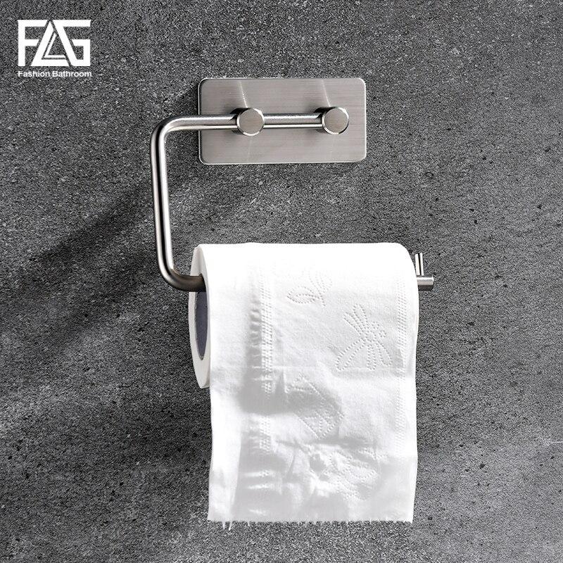 Toilet Paper Holder Self Adhesive Tissue Roll Holder 304 Stainless Steel Black