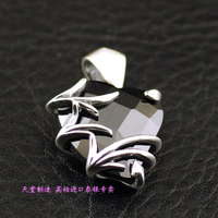 925 pure silver black crystal love pendant