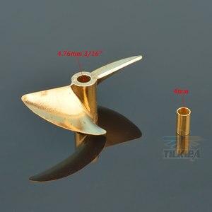 Image 4 - RC D30/32/35/38/44/48/50/52mm Boot Prop 3,18mm/4mm/4,76mm PositiveScrew 2 klingen Kupfer Propeller Links Für RC Boot