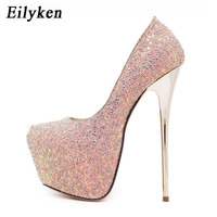 Eilyken 2020 New Platform Ultra High Heels Woman Shoes Sexy Bling Pumps Party Dress Shoes Black Pink Blue Size 34 45