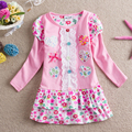 NEAT New baby girl clothes college style girls dresses embroidered wave points stripe bow kids clothes Long sleeve dress L66108