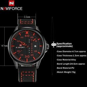 Image 5 - NAVIFORCE Fashion Sports Men Quartz Watches Leather Strap Luxury Brand Watches Man Red Dials 30M Waterproof Relogio Masculino