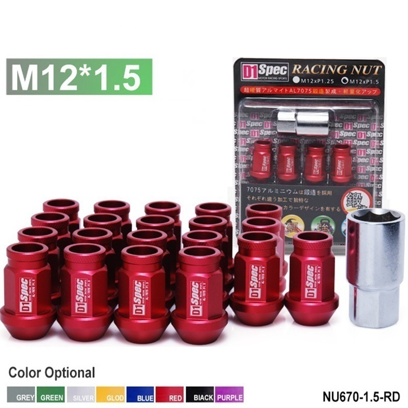 D1 Spec Auto Wheel  Lug Nuts Lock Red M12xP1.5 20pcs With One Lock For HONDA TOYOTA LEXUS MITSUBISHI NU670-1.5-RD