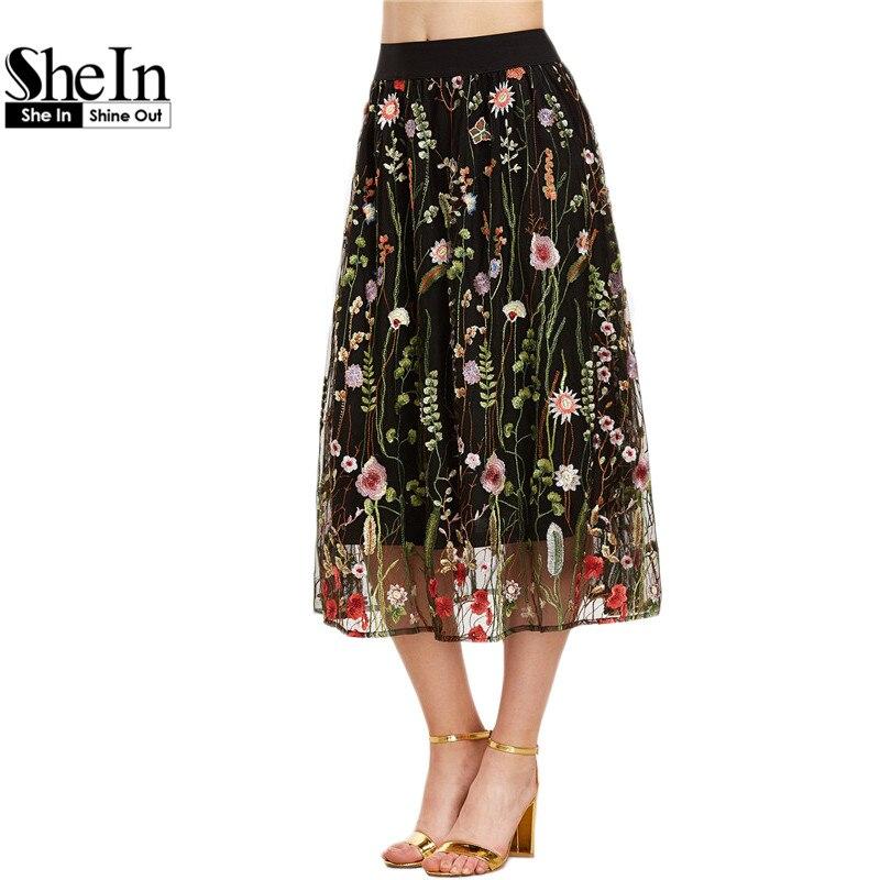 SheIn Bohemian Skirt Women Vintage Long Skirt Ladies Elegant Black Floral Embroidered Mesh Overlay A Line Midi Skirt