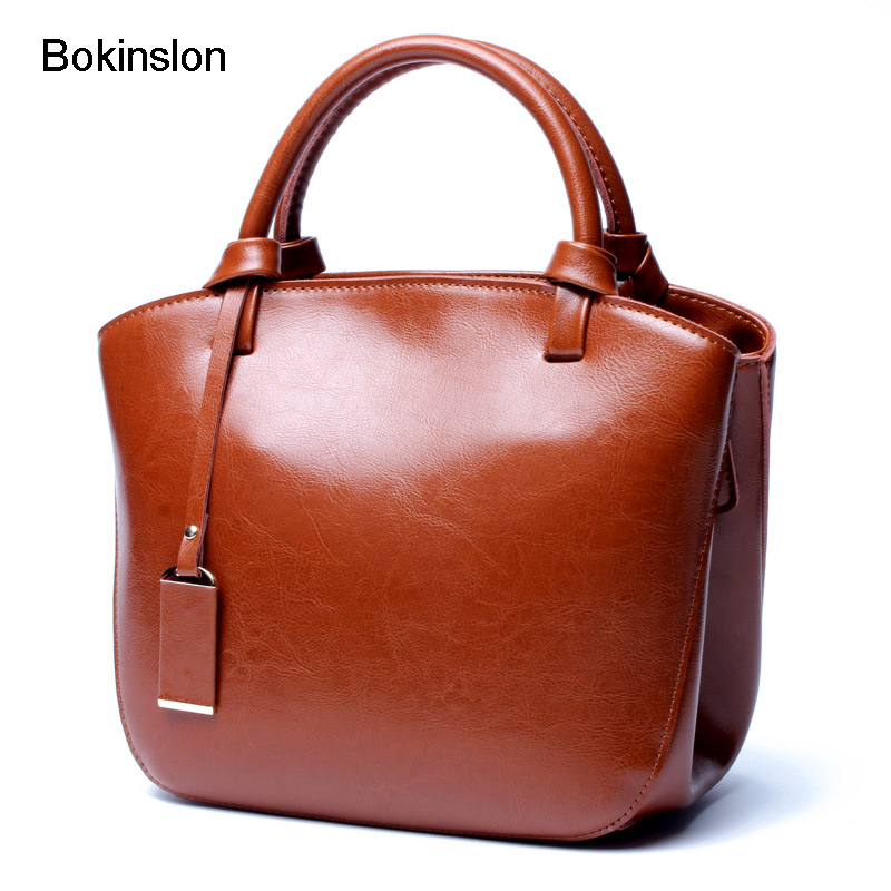 Bokinslon Woman Retro Bags Fashion Split Leather Handbags For Women Popular Classic Female Handbag Bags High Quality intelligent 1 lcd electronic 7 grid pill capsule medicine organizer case blue white 2 x aaa