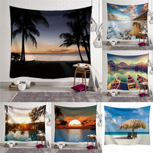 Tapestry Wall Hanging Polyester Seaside Pattern Blanket Tapestry Home Decor Art fire and water butterfly pattern wall art tapestry