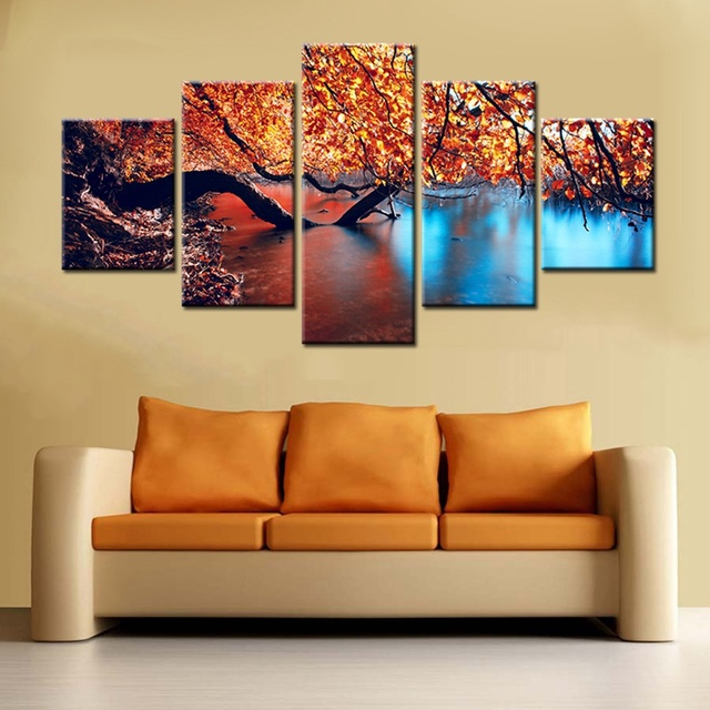Autumn Scenery Landscape Fall Leaves lake Picture Prints Canvas ...